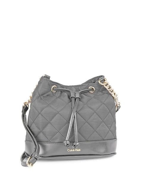 calvin klein florence quilted crossbody bag in gray lyst
