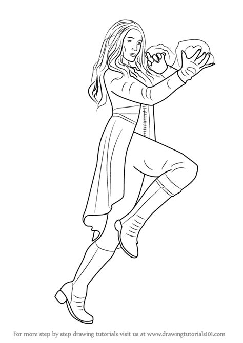Learn How To Draw Scarlet Witch From Captain America Civil Captain America Civil War Coloring Pages