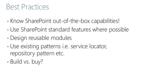 repository pattern best practices best practices for sharepoint application lifecycle management