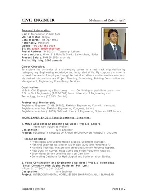 Resume Sles In Ms Word Pakistan Sle Cv Of Civil Engineer