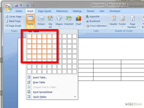 how to a table in word how to create a simple table in microsoft word 5 steps