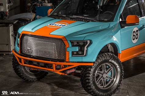 gulf racing truck gulf 2016 ford f 150 has gulf livery and adv 1 wheels
