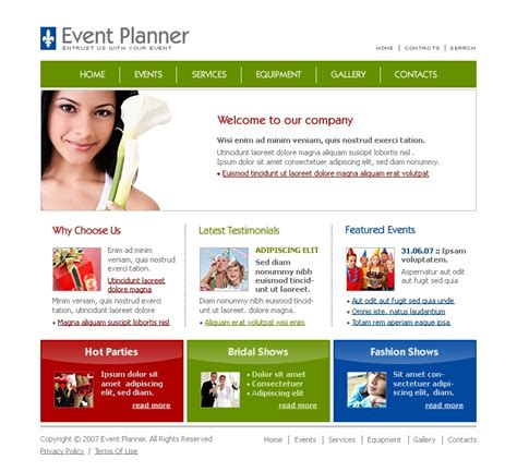 wedding planner website template event planner website template 13109