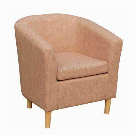 Brown Fabric Armchair by Foxhunter Linen Fabric Tub Chair Armchair Dining Living