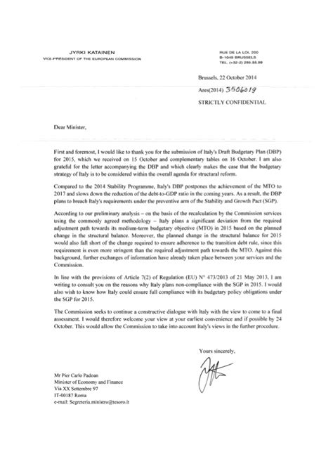 Exemple De Lettre D Invitation A Un Ministre Modele Lettre Italien Document