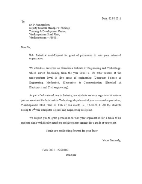 Permission Letter Sle For Industrial Visit Industry Visit Request Letter