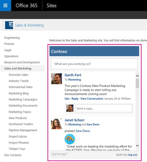 Office 365 News Feed Embed A Yammer Feed Into A Sharepoint Site Office 365