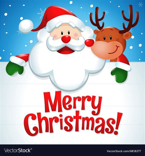 merry christmas santa claus  reindeer  blue vector image