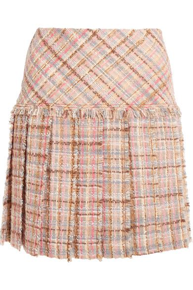miu miu pleated wool blend tweed mini skirt net a