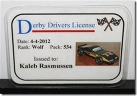 pinewood derby drivers license template pinewood derby derby and certificate templates on