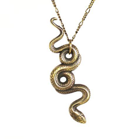 garden snake necklace bronze snake pendant necklace serpent