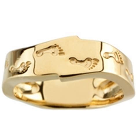 footprints in the sand ring 14k gold christian jewelry