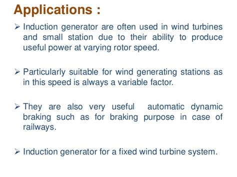 induction generator in wind power plant induction generator