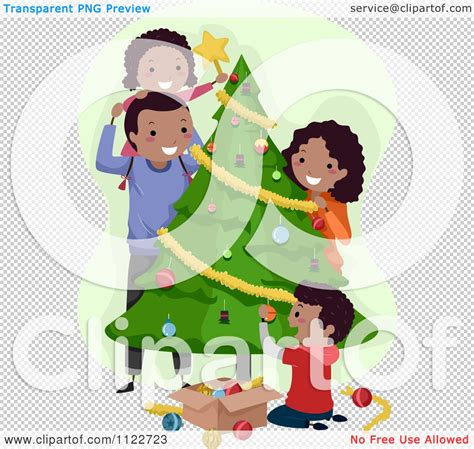 studio decor holiday clip of a happy black family decorating a tree royalty free vector clipart by bnp
