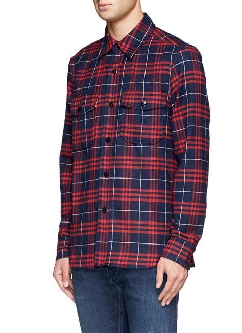 Flannel Tartan Square Navy Denham Tartan Check Flannel Shirt In Blue For
