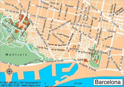 printable map barcelona city centre map of barcelona spain