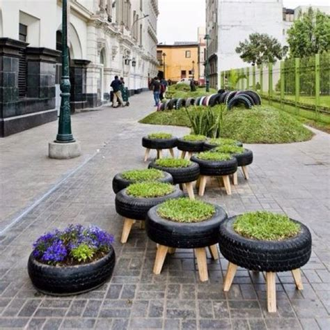 recycled tyre planters home deco ideas