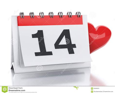 day 1 feb to 14 feb 3d s day february 14 in calendar stock