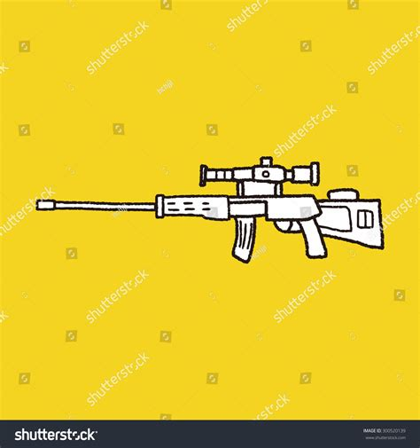doodle sniper sniper rifle doodle stock vector 300520139