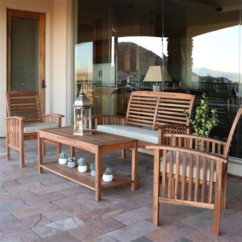 Walker Edison 4 Piece Acacia Wood Conversation Set With Acacia Wood Outdoor Furniture
