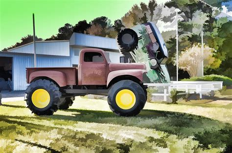 large grave digger truck truck grave digger 2 painting by lanjee chee