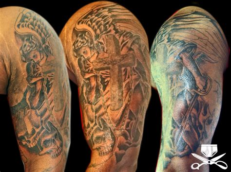 angel tattoo sleeve heaven vs hell hautedraws