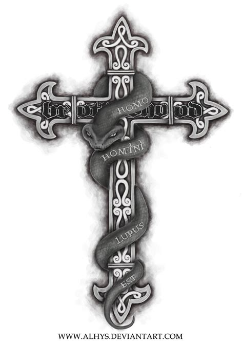 cross snake tattoo snake cross by alhys on deviantart