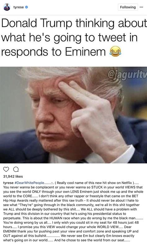 donald trump reacts to eminem tyrese imagines what s on donald trump s mind after eminem