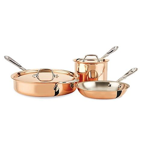 bed bath and beyond wok all clad c2 copper clad 5 piece cookware set bed bath