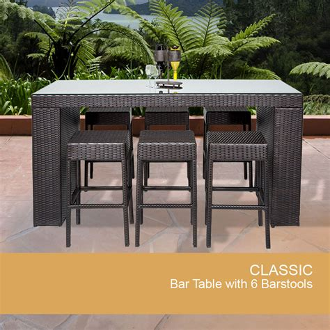 Outdoor Patio Bar Table Bar Table Set Backless Barstools Patio Garden Furniture