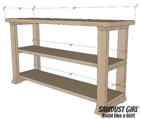 Three Shelf Console Table Free Plans Sawdust Girl 174 Console Table With Shelves