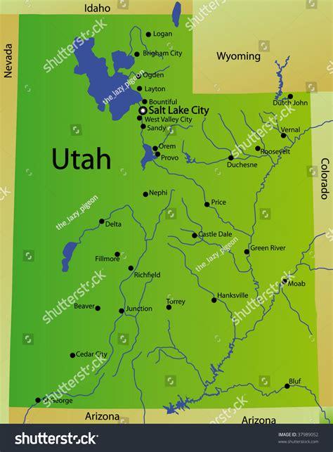 utah usa map detailed map utah state usa stock illustration 37989052