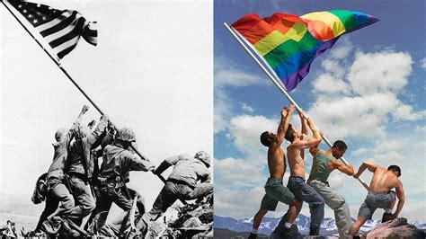 pride adaptation of iconic iwo jima photo draws