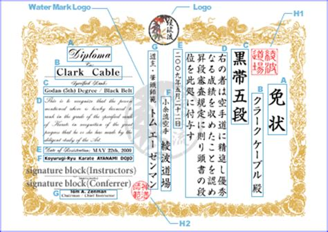 martial arts certificate custom design kanji tattoo and