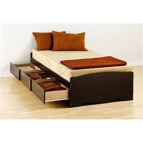 walmart storage bed prepac edenvale twin platform storage bed espresso
