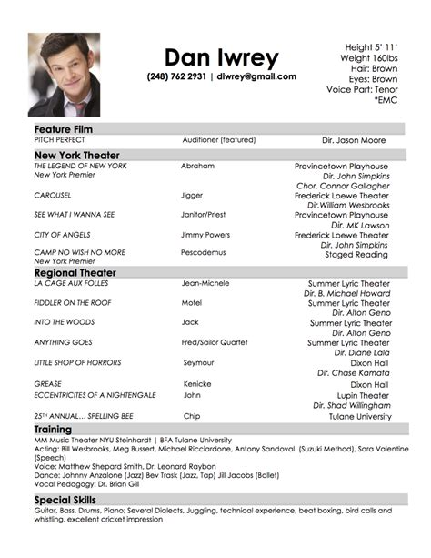 musical theatre resume template resume best template collection