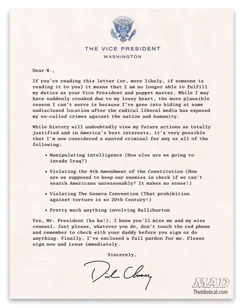 Resignation Letter Vice President Exclusive Vice President Cheney S Resignation Letter Mad Magazine
