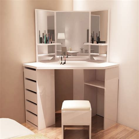 Corner Vanity Desk by Large Corner Dressing Table 3 Divided Vanity Mirror