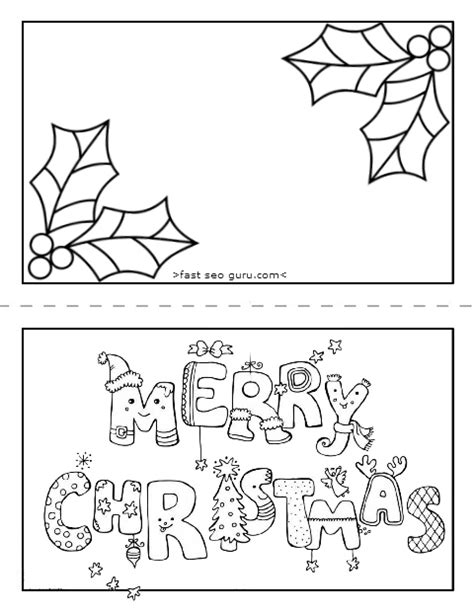 Printable Merry Christmas Card Coloring Page For Kids Merry Card Coloring Pages