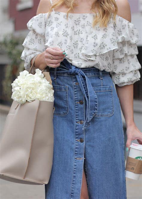 favorite trends ruffle sleeve top and denim midi skirt