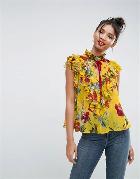 Asos Ruffle Front Blouse asos asos yellow floral sleeveless blouse with ruffle front