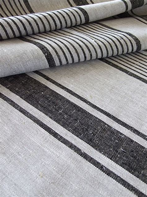 striped linen upholstery fabric 2 meters of natural black striped linen fabric