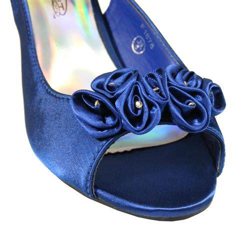 Brautschuhe Blau Satin by Brautschuhe Damen Marineblau Blau Satin Niedriger Absatz