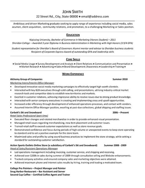 marketing resume templates marketing intern resume sle template