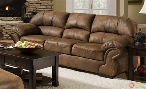 Pinto Tobacco Finish Microfiber Living Room Sofa And Microfiber Sofa And Loveseat Set
