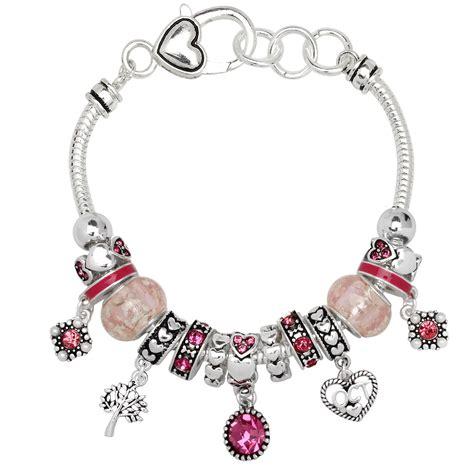 pandora type zircon october birthstone charm bracelet murano