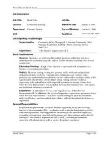 Resume Sle For Bank Teller by Bank Teller Resume With No Experience Resume Format