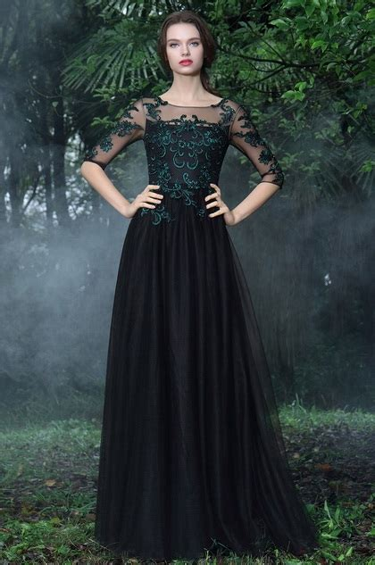 edressit black formal gowns  green lace appliques