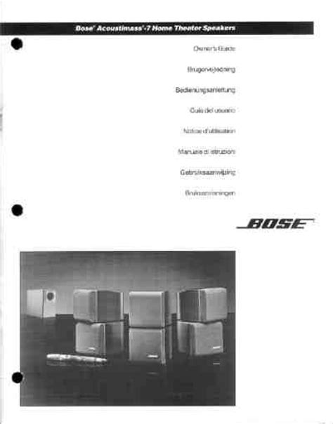 bose acoustimass system 7 home theater manual for