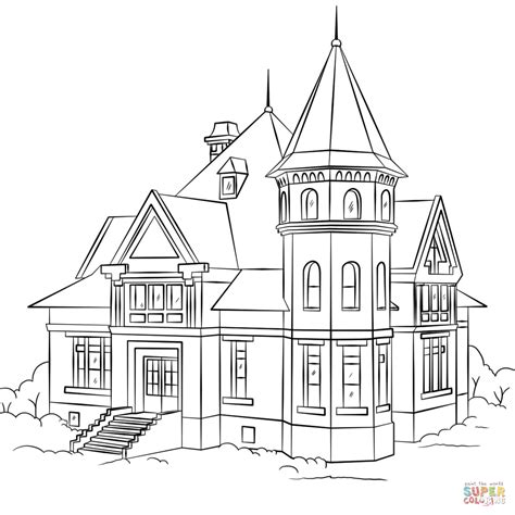 a coloring page of a house victorian house coloring page free printable coloring pages